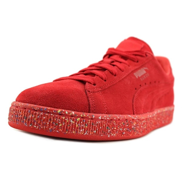 Puma Suede Classic Multi Splatter Men Round Toe Suede Red Sneakers