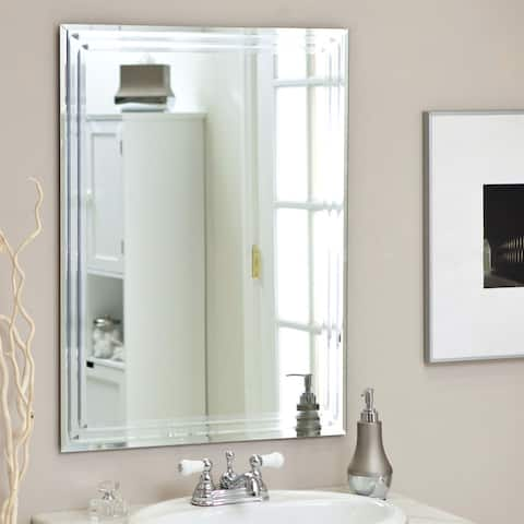 Rectangular 31.5-inch Bathroom Vanity Wall Mirror with Contemporary Triple-Bevel Design - Clear