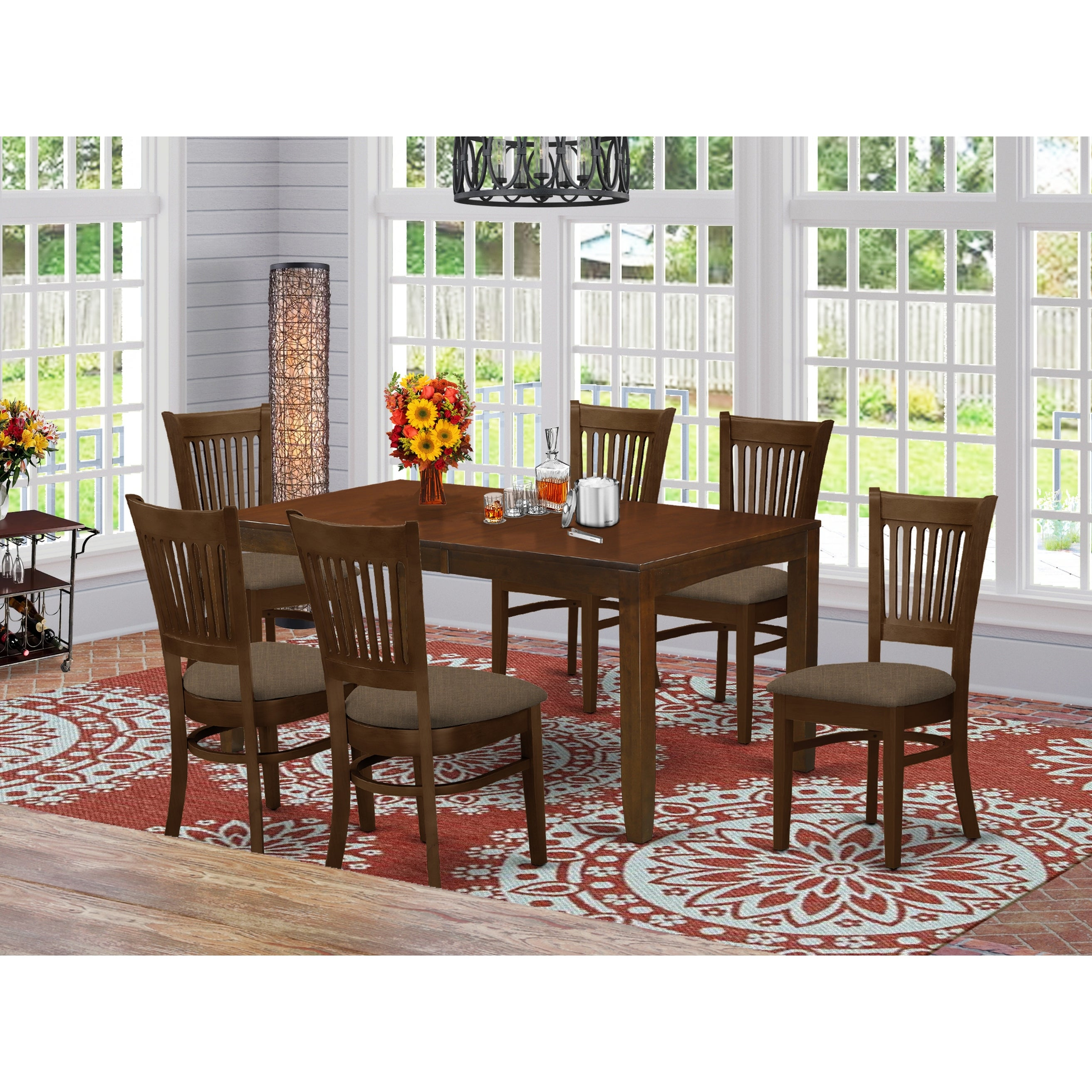 Lyva7 Esp 7 Piece Lynfield Dining Table With One 12 Leaf And Six Kitchen Chairs In Espresso Color Overstock 14366558 Wood Seat