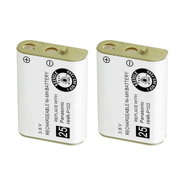 Replacement Battery For Panasonic TYPE 25 Cordless Phones - P103 (750mAh, 3.6V, NiMH) - 2 Pack