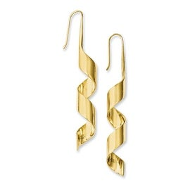 Chisel Stainless Steel Yellow IP-plated Swirl Dangle Earrings