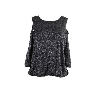 Alfani Plus Size Dark Silver Metallic Cold-Should Top 0X