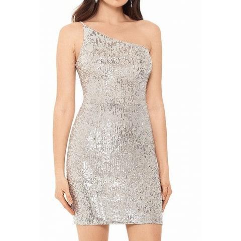 Xscape Women's Dress Shiny Silver Size 8 Sheath One Shoulder Sequins