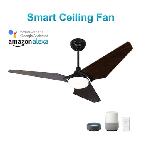Trailblazer 56-inch Indoor/Outdoor Smart Ceiling Fan, Dimmable LED Light Kit & Remote Control, Works with Alexa/Google Home/Siri