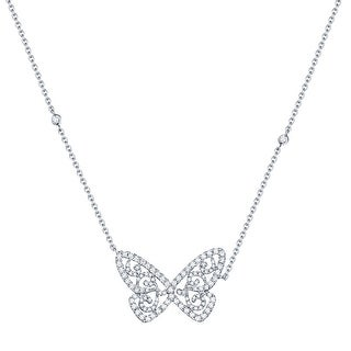 Beautiful 0.51Ct G-H/SI1 Round Brilliant Cut Natural Diamond Butterfly Necklace - White