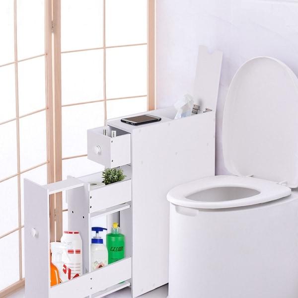 Shop Costway Narrow Wood Floor Bathroom Storage Cabinet Holder Organizer Bath Toilet