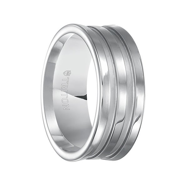 LAMBERT Polish Finished Concave White Tungsten Carbide Ring with Matte Finished Recessed Grooves by Triton Rings - 9 mm