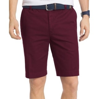 IZOD NEW Purple Mens Size 38 Khakis Relaxed-Fit Washed Chinos Shorts