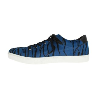 Dolce & Gabbana Dolce & Gabbana Blue Black Leather Calf Hair Sneakers - eu44-us11