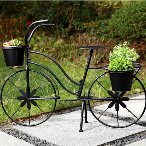 """Glitzhome 36.5""""L Oversized Hand painted Metal Bicycle Planter Stand"""