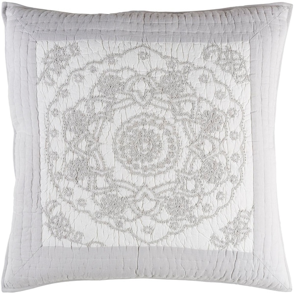 Misty Gray and Pure White Delicately Embroidered Cotton Quilted Euro Sham with Gray Border