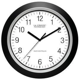 "La Crosse 404-1236 Analog Atomic Black Frame Wall Clock, 13.5"""