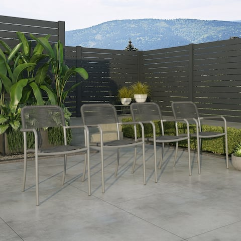 Amazonia Curry 4pc Aluminum & Rope Patio Dining Chairs