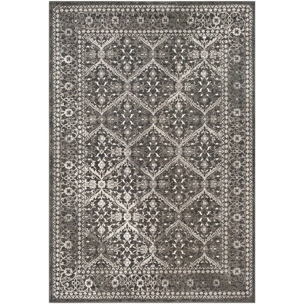 2 X 3 Flint Gray And White Damask Pattern Rectangular Area Throw Rug N A