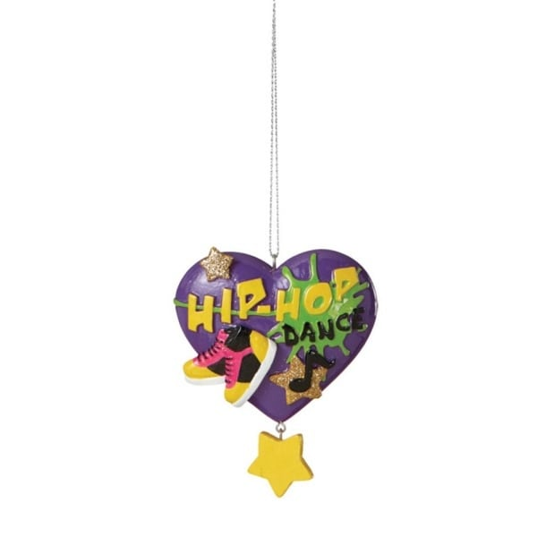 "3.5"" Purple Hip-Hop Dance Heart Shaped Christmas Ornament"