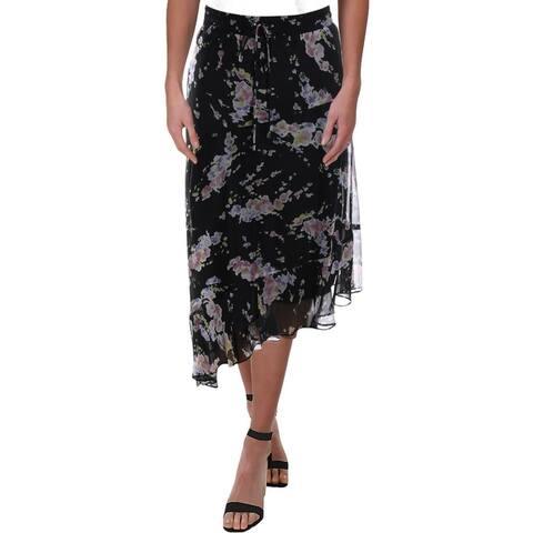 Lauren Ralph Lauren Womens Tierney Maxi Skirt Floral Asymmetrical - Black Multi