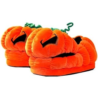Halloween Jack O Lantern Plush Slippers - Orange