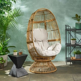 Pintan Outdoor Wicker Swivel Egg Chair with Cushion by Christopher Knight Home