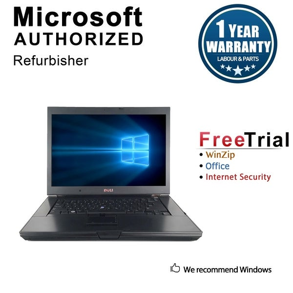 "Refurbished Dell Latitude E6500 15.4"" Laptop Intel Core 2 Duo P8400 2.26G 4G DDR2 160G DVD Win 10 Pro 1 Year Warranty - Black"