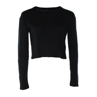 TopShop NEW Deep Black Women's Size 4 Crewneck Burnout Cropped Tee T-Shirt