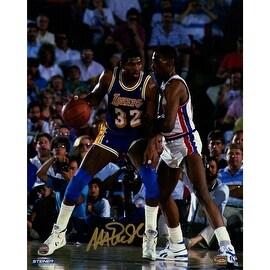Magic Johnson Signed 'Against Dennis Rodman 1989 NBA Finals' 8x10 Photo