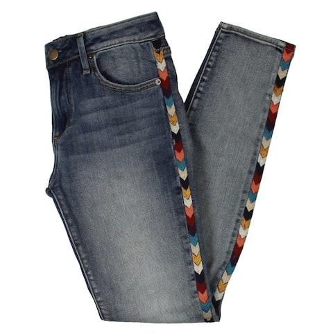 Aqua Womens Jeans Denim Embriodered - Medium Wash - 25