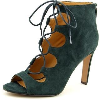 Nine West Unfrgetabl Women  Peep-Toe Suede Green Heels