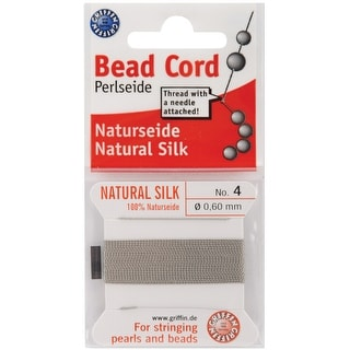 Natural Silk Bead Cord .6Mmx2m-Grey