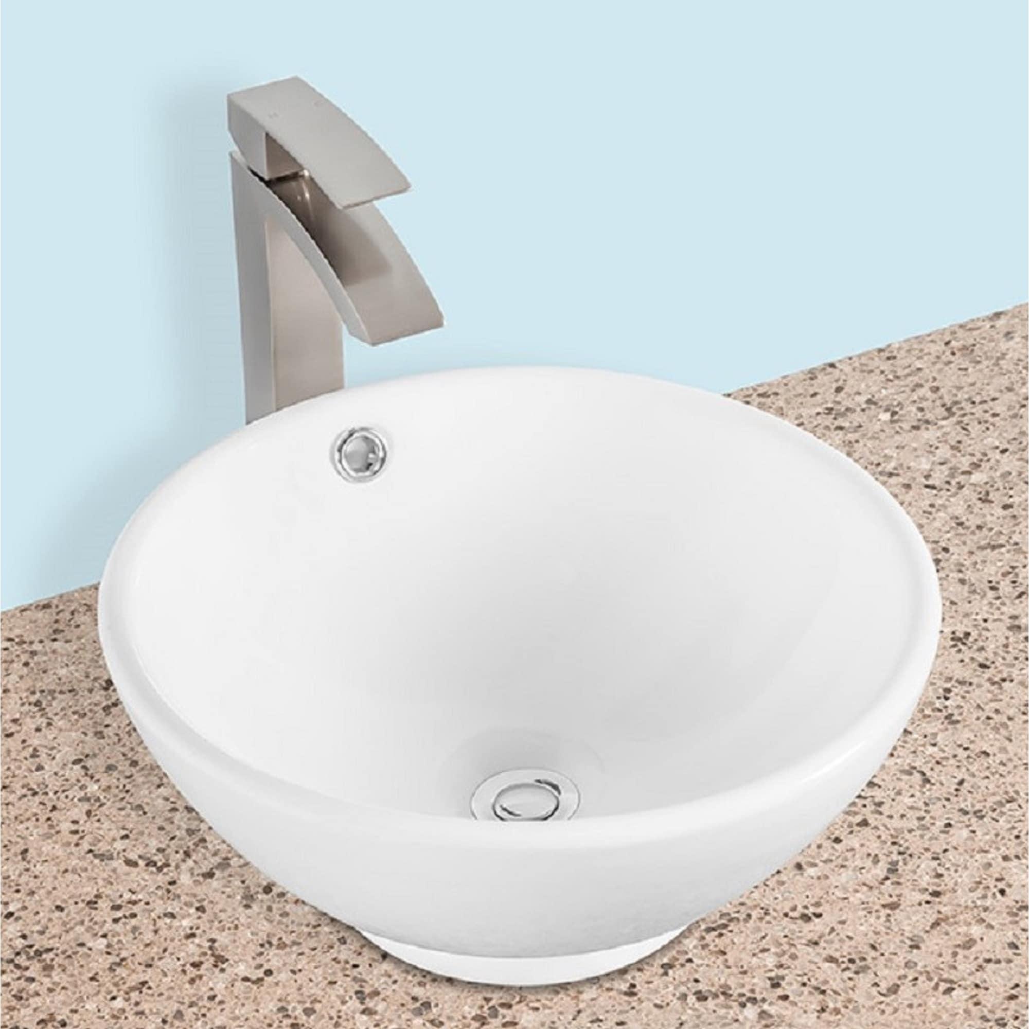 Ajello V416 16 Inch Round Above The Counter Ceramic Bathroom Vanity Vessle Sink Modern Style Counter Top Vanity Art Basin Bowl Overstock 32027134