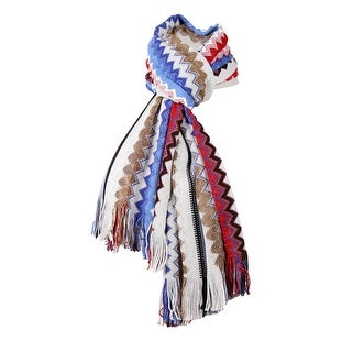 Link to Missoni White/Blue Long Zigzag Fringe Metallic Accent Scarf - 20-69 Similar Items in Scarves & Wraps