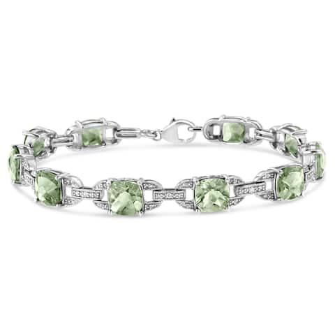 ".925 Sterling Silver 7x7mm Cushion cut Gemstone and Diamond Accent Fashion Tennis Bracelet (I-J, I1-I2) - 7""- Choice of Gemstone"