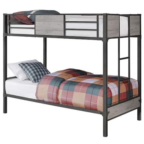 Offex Contemporary Bunk Bed - Twin - Twin Size - Grey - Dark Grey Metal