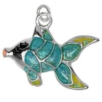 Silver Plated and Enameled Charm, Large Fish (Left) 17x20x3mm, 1 Piece, Aqua Blue