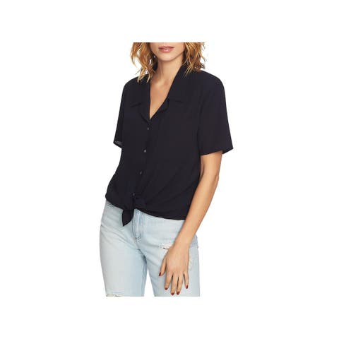 1.State Womens Blouse Button-Down Short Sleeve - XS