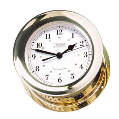 """8"""" Gold and White Traditional Round Shaped Bell Clock"""