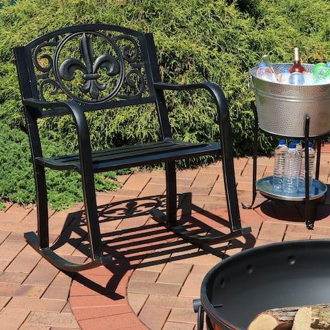 Sunnydaze Patio Rocking Chair - Cast Iron and Steel with Fleur-de-Lis Design