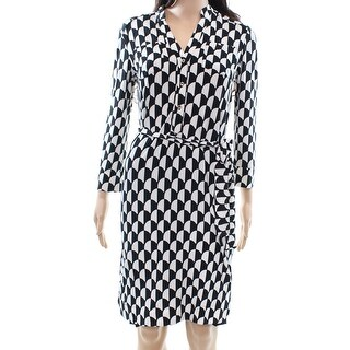Donna Morgan NEW Black Ivory Womens 2 Two-Pocket Belted Shirt Dress