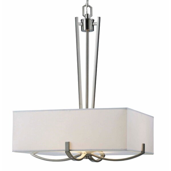 Canarm Palmer 3 Light Chandelier With White Fabric Shade And Frosted Glass Diffuser Brushed Nickel