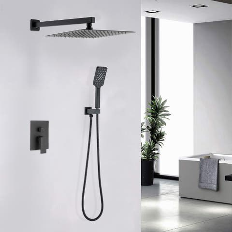 Proox 10 in. Wall Mount Rainfall Shower System w/ Showerhead Handheld