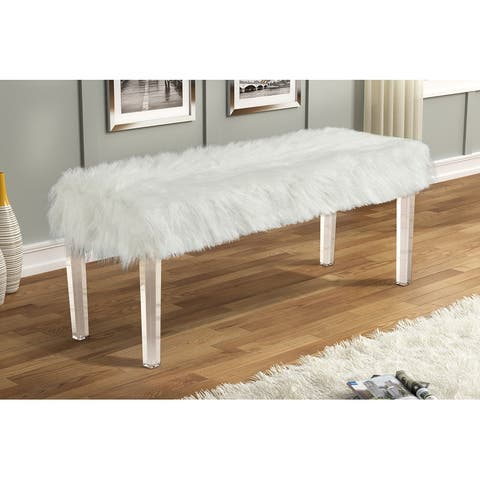Best Master Furniture Lush Glamour Faux Fur Accent White Bench