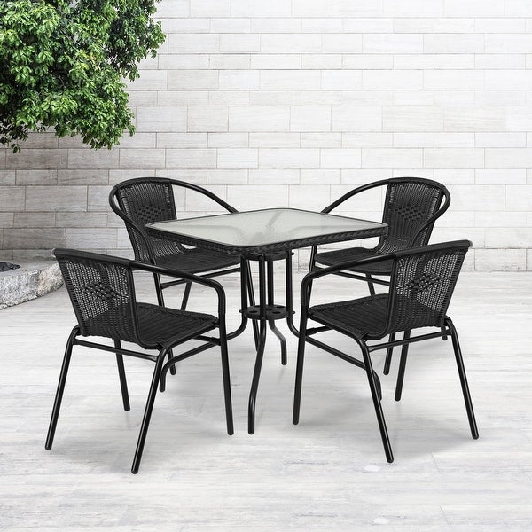 28'' Square Glass Metal Table with Rattan Edging and 4 Rattan Stack Chairs. Opens flyout.