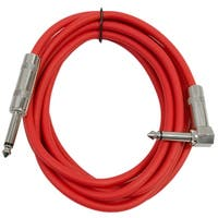 "Seismic Audio - 10' Red Guitar Cable TS 1/4"" to Right Angle - Instrument Cord"
