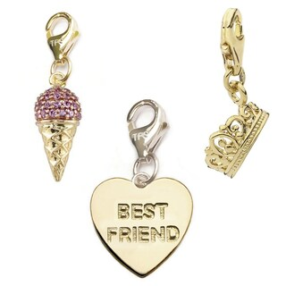 Julieta Jewelry Best Friend Heart, Ice Cream, Crown 14k Gold Over Sterling Silver Clip-On Charm Set