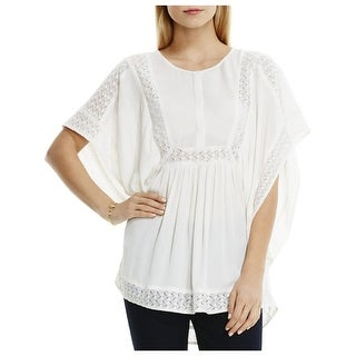 Two by Vince Camuto Womens Peasant Top Crinkled Lace Trim
