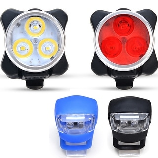 LED USB Rechargeable Waterproof Bike Headlight Tail Light Set Bicycle Front Rear Light w/ 2 Frog Light 4 Light Modes