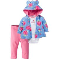 Gerber Baby 3 Piece Hooded Jacket, Bodysuit and Pant Set, Rose