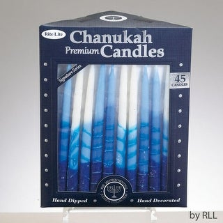 """Club Pack of 45 Signature Series Blue and White Chanukah Premium Hand Dipped Candles 5"""""""