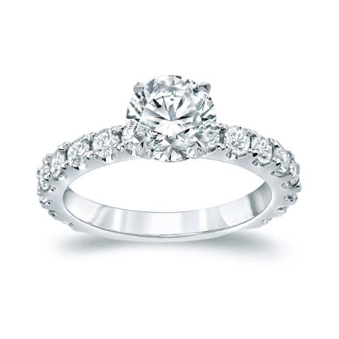 Auriya Platinum Classic 2 1/2ctw Round Diamond Engagement Ring Certified