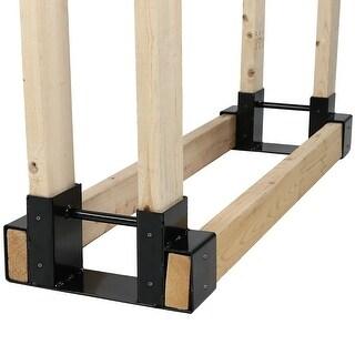 Sunnydaze Steel Firewood Log Rack Bracket Kit - Adjustable to Any Length - Black