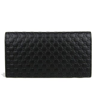 Gucci Microguccissima Black Leather Long Flap Wallet